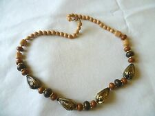 """Brown & Bronze Chunky Bead Costume 22"""" Necklace"""