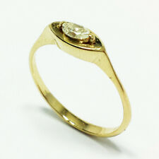 14k Yellow Gold Petite Solitaire Marquise Diamond Engagement Ring Size 6.5