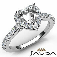 Heart Cut Diamond Semi Mount Prong Setting Engagement Ring 18k White Gold 0.5Ct
