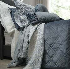 Dark Blue Luxe Velvet Cotton Bedspread Set - Queen