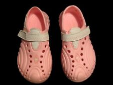 Baby Girls Toddler Doggers Rubber Strap Clog Shoes Pink/White Sz 5/6