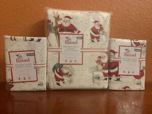 Pottery Barn Kids Heritage Santa Full Queen Duvet Cover 2 Standard Shams FLANNEL