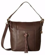NWT LUCKY BRAND LEATHER CARMEN TOP ZIP BUCKET CROSSBODY SHOULDER BAG BROWN $188
