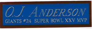 OTTIS ANDERSON GIANTS NAMEPLATE AUTOGRAPHED SIGNED FOOTBALL HELMET JERSEY PHOTO