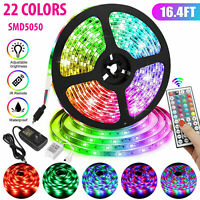 5M 16.4ft RGB Waterproof LED 5050 SMD Flexible Strip Light 12V+Remote+Power