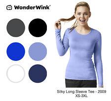 WonderWink Women's Silky Long Sleeve Knit Tee -New-Free Ship