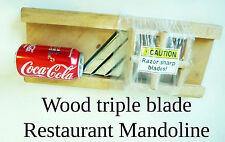 MANDOLINE wood wooden industrial triple blade restaurant vegetable slicer blade