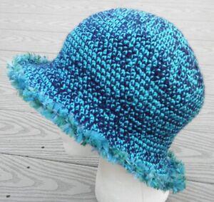 Graceful Mix Blue Medium Size Crocheted Cloche - Handmade by Michaela