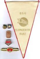 DDR Lot 6 Stück 1x Wimpel der BSG Stahl Elbingerode/Harz,Ehrennadel Volksbild...