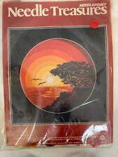 "Vintage Needle Treasures Needlepoint Monterey Sunset Wool 18x18"" Midcentury Kit"