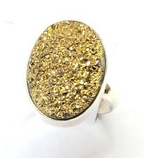 Druzy Quartz Gold Color Sterling Silver Oval Ring. Size 7&3/4