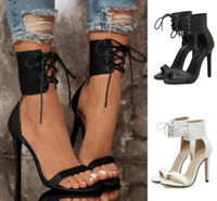 Sexy Women Ankle Strap Cross Lace Up Shoes  Open Toe High Heels Stiletto Sandals