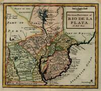 South America Rio de la Plata Uruguay Paraguay 1713 Moll miniature map