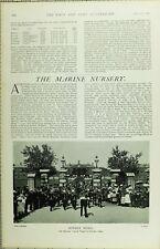 1902 PRINT MARINE NURSERY SNDAY MUSIC MARINES CHURCH PARADE AT WALMER DEPOT