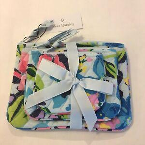 NWT Vera Bradley Cosmetic Trio Marian Floral NEW 3 Piece Set Makeup Bags Blue