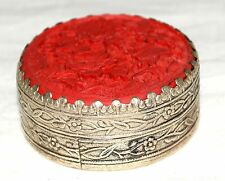Vintage Floral Carved Carnelian & Embossed Silver Tone Round Trinket or Pill Box