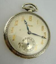 GRUEN 15 JEWEL Art Deco Swiss Model Cal. 716 Open Face Pocket Watch VTG/OLD