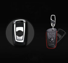 For BMW Car Genuine Leather Car Key Case Holder Cover Remote Fob Red Stiching
