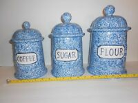 Set of 3 Country Blue White Speckled Canisters Lids Set Flour Sugar Coffee Tea