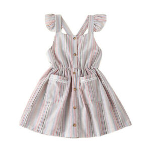 Toddler Girls Kids Printed Casual Dress Short Sleeve Summer Holiday Party Dress