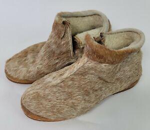 Handmade Slipper Boots Sz 8 Canada Skin Fur Hard Sole Side Slit Vintage Moccasin