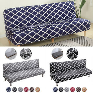 Armless Sofa Bed Full Cover Stretch Slipcover Settee Couch Graffiti Protector US