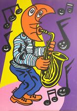 """Hervé Di Rosa ."""" Tête de lune jouant du saxo"""". ( Offset) Edit Di Rosa 1992.pv73"""