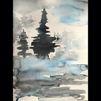 Matt Scalf Abstract Trees Landscape ORIGINAL PAINTING Watercolor 9x12 Winter