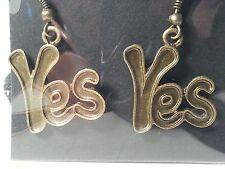 """Bronze Tone """"Yes"""" Drop Style Hook Earrings - Fashion Jewelry"""