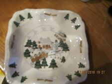 "Masons Christmas Village Made In England 9"" Square Dish x 1.5"" Deep"