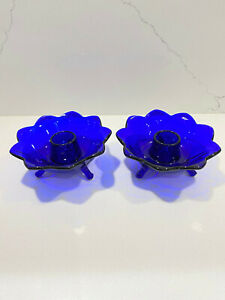 Set of 2 Fenton Cobalt Blue Glass Lotus Flower Footed Candle Holders Gorgeous!