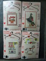 Lot of 4 Country Wireworks Christmas Cross-Stitch Kits w/ Wire Hangers