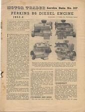 Perkins R6 Motor Diesel 1953-4 Motor comerciante de datos de servicio n ° 217 1954