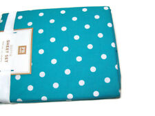 Pottery Barn Teen Multi Colors Aqua Marine Dottie Dot Cotton Queen Sheet Set New