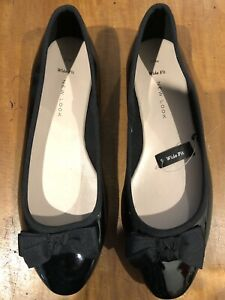 Black Ballet Flats Size 9 Wide Fit New Look Patent Leather Look NEW