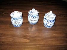 3 Antique Small German Canisters with Lids Blue Onion Meissen Type Germany