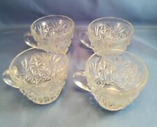 4 Vintage Arlington by Anchor Hocking Flat Punch Cups Diamond & Fan Design