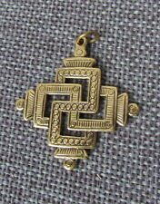 Svarga, Old Hutsul Cross Pendant, Brass, 1 1/4""