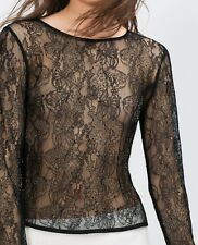 Zara Black Lace Sparkly Top Evening Collection Blouse Size S UK 8 EU 36 US 4