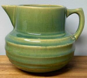 ANTIQUE 1920'S NELSON McCOY STONEWARE PITCHER GREEN GLAZE FINISH SIGNED