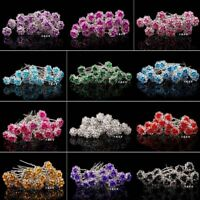 20PCS New Engagement Bridal Rhinestone Flower Hairpins Crystal Hair Clips