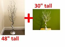"""Pack/2, 48"""" AND 30"""" SILVER Manzanita Tree Centerpiece Wedding Floral Party Decor"""