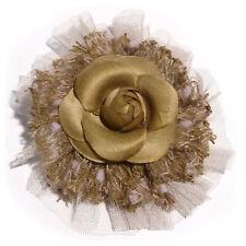 Broche pince bibi soiree cérémonie fleur camélia tissu tulle laine MARRON CLAIR