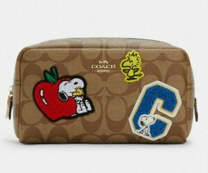NWT Coach X Peanuts Small Boxy Cosmetic Case Signature Canvas With Varsity Patch