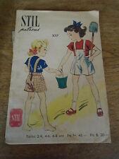 """ANCIEN PATRON STIL """"SHORT A PONT EMPIECEMENT BAVETTE  """" T 4/6 ANS ANNEE 1940"""