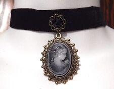 BLACK VELVET LADY CAMEO CHOKER Victorian Gothic Steampunk necklace EGL Z5