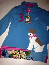 new £31.95 long sleeved top Girls Joules Dog Embroidered Polo Shirt Age 7 Years