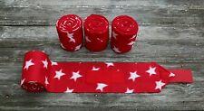 Horse Polo Leg Wraps Stable Wraps  Set of 4 Red Stars Patriotic