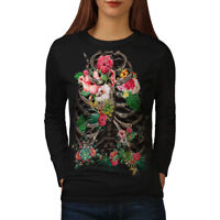Wellcoda Skull Flower Womens Long Sleeve T-shirt, Festival Casual Design