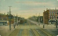 DUNKIRK NY-Third Street East of Central Avenue showing Trains, Tracks and Stores